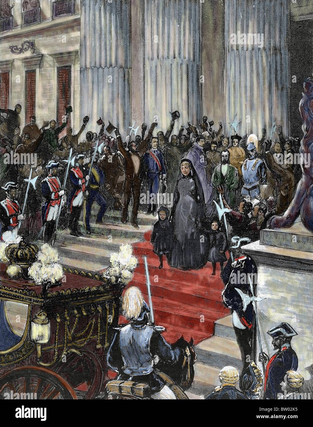 Regencia de María Cristina de Habsburgo-Lorena (1885-1902). La reina regente (1885-1902) del Congreso. Madrid. Imagen De Stock