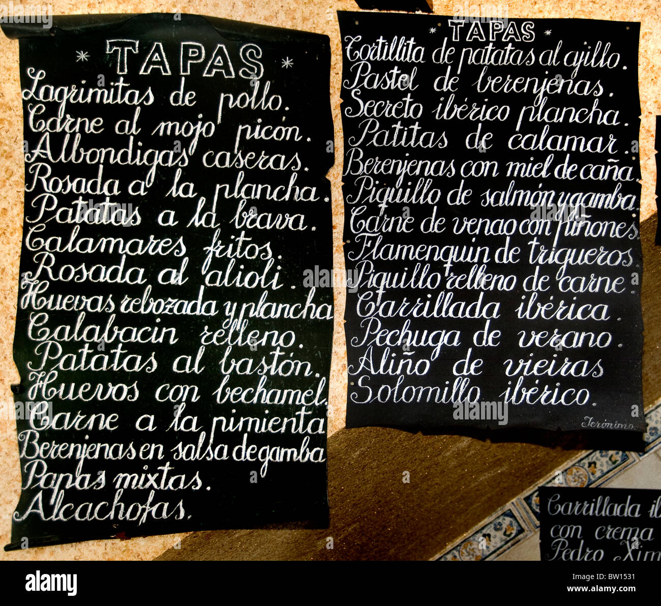 España Español Menú de tapas de tapas bar pub restaurante Antequera Imagen De Stock