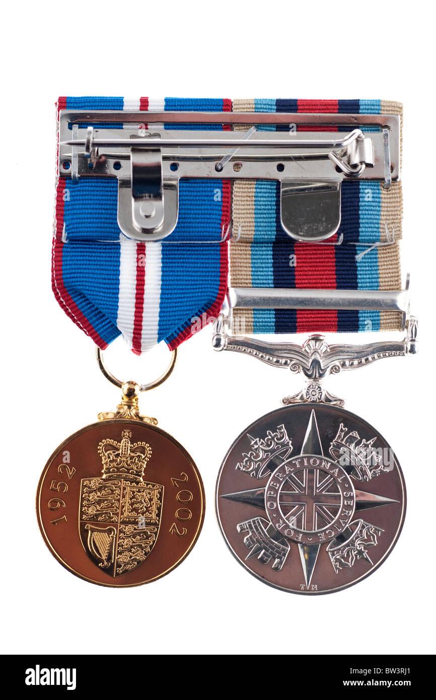 Queen's Golden Jubilee medalla y OSM Medalla de Servicio operacional para el Afganistán Foto de stock