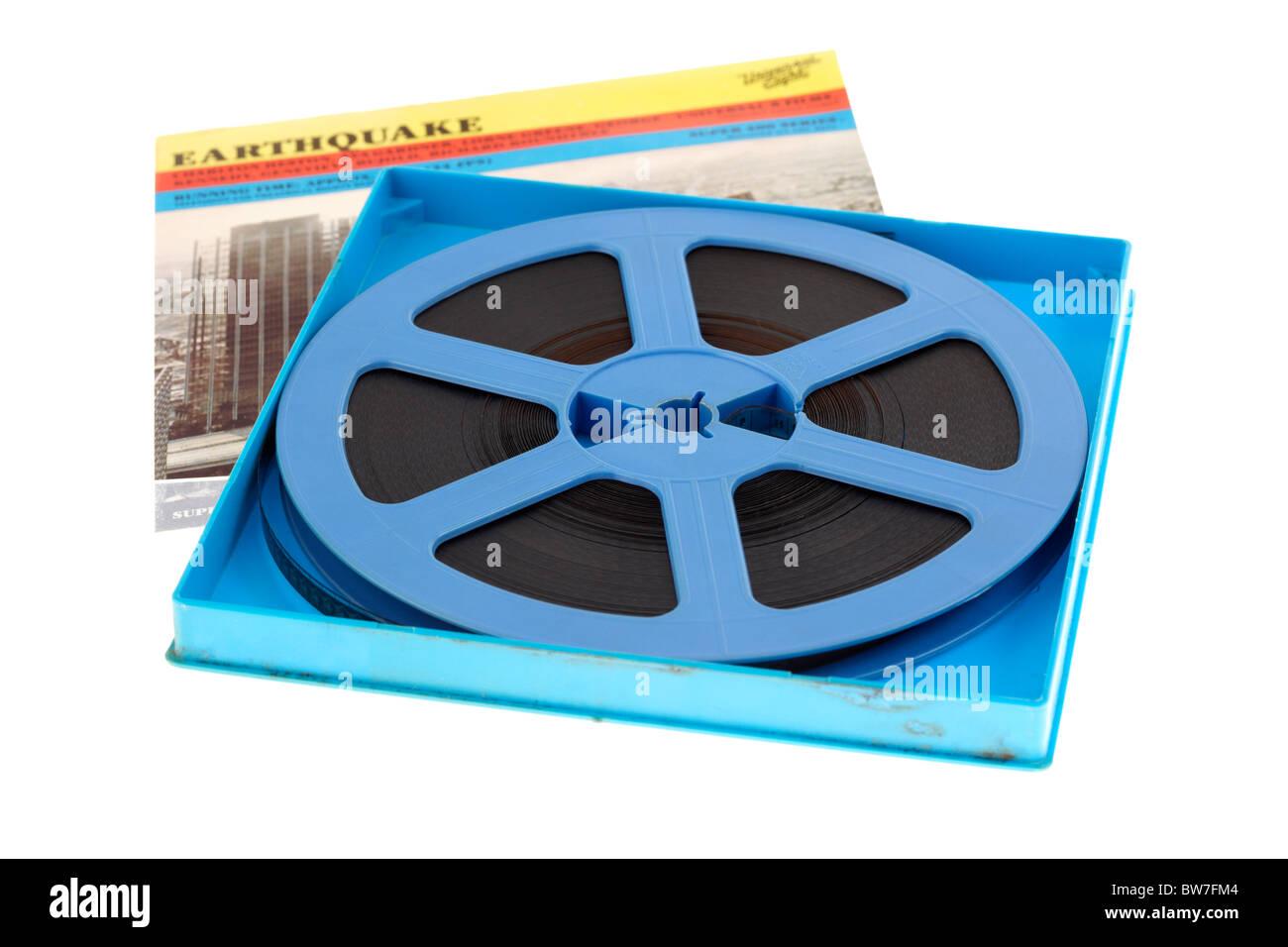 Super8 carrete de película de cine de la película terremoto para uso doméstico. Imagen De Stock