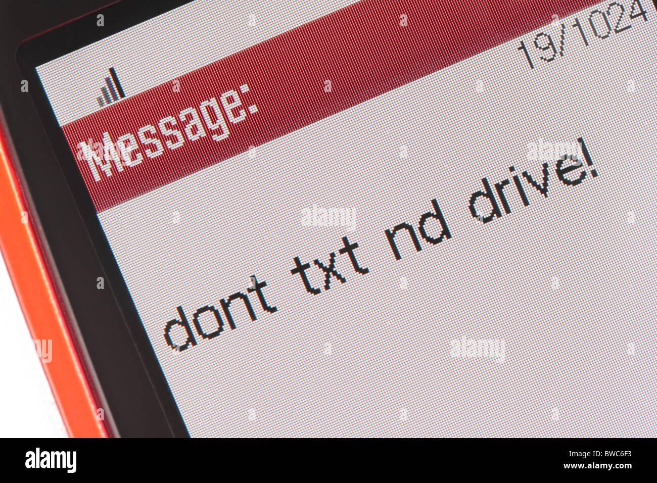 Mensaje de móvil no Text & Drive Foto de stock