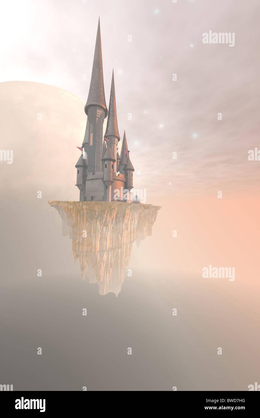 Imagen de un castillo de fantasía en la niebla y las nubes. Foto de stock