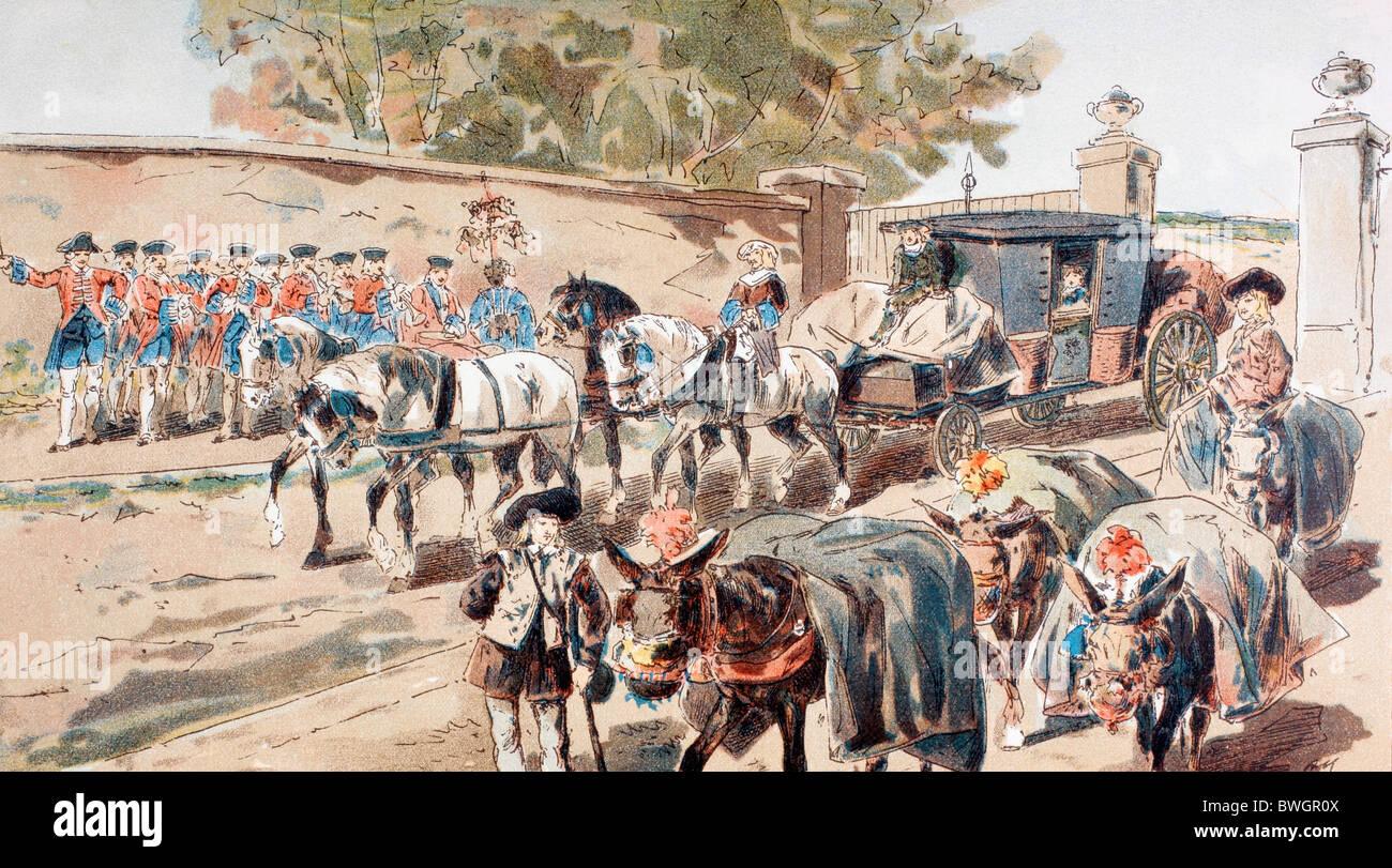 Una post-chaise entrando en un recinto amurallado y que pasa entre una banda y un burro en tren. Siglo XVIII. Foto de stock