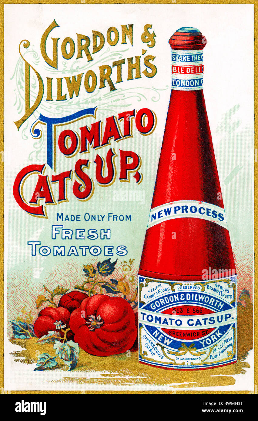 Gordon & Dilworths tomate, salsa de tomate 1890 Anuncio para el ketchup americano importado en Inglaterra Imagen De Stock