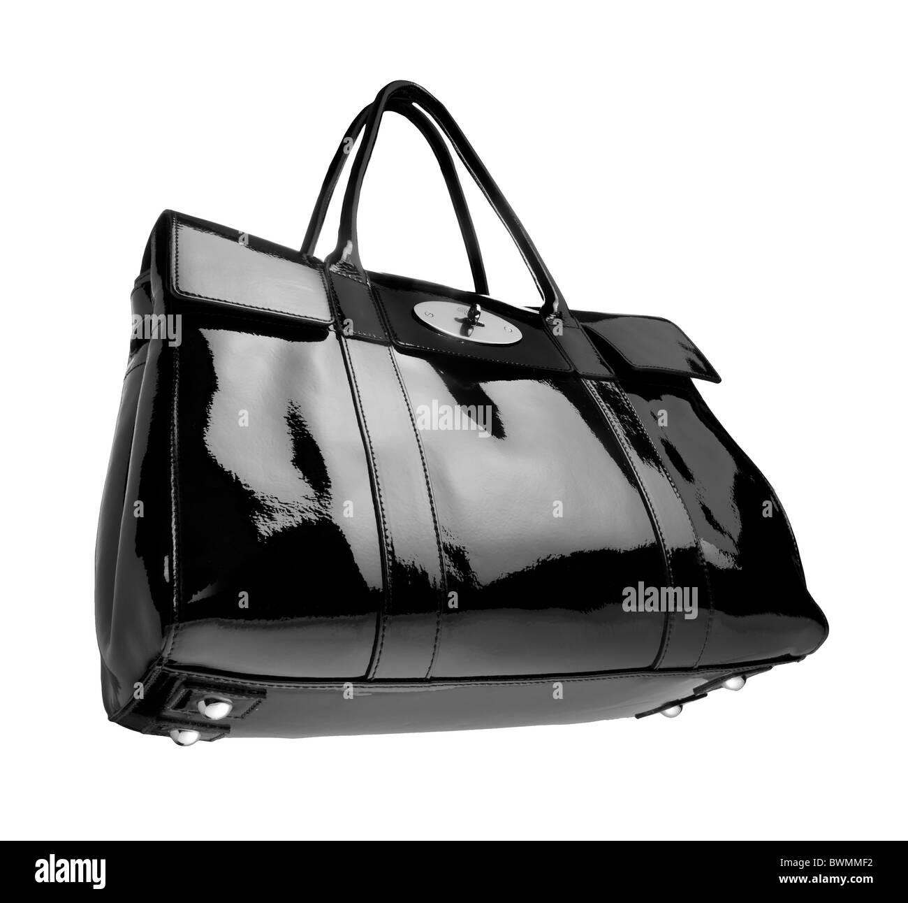 Mulberry bolso negro de cuero suave y brillante de patentes Foto de stock