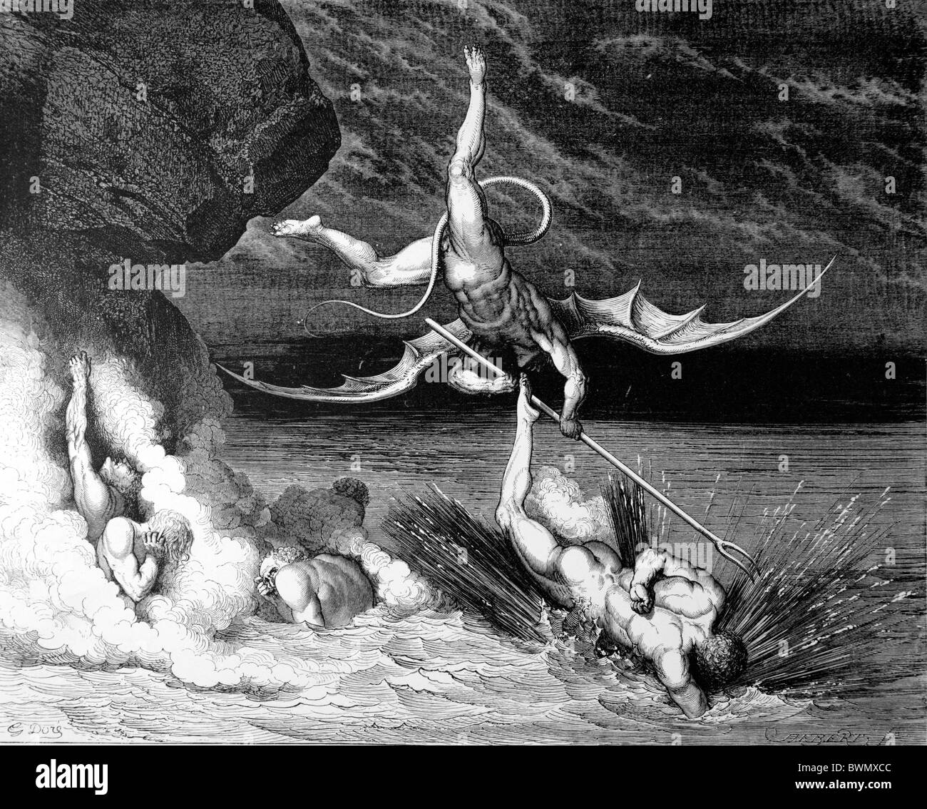 Gustave Doré; un vuelo y búsqueda en el infierno de Dante la Divina Comedia Aghlieri; grabado en blanco Imagen De Stock