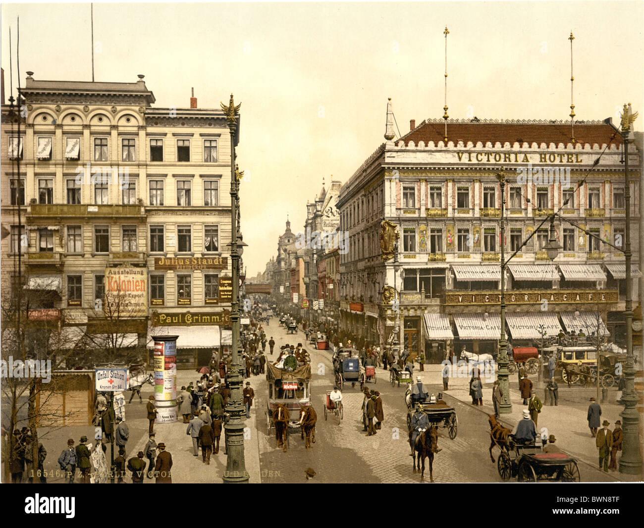 Victoria Hotel Berlin Unter den Linden Alemania Europa Photochrom alrededor de 1900 Imperio Alemán historia Imagen De Stock