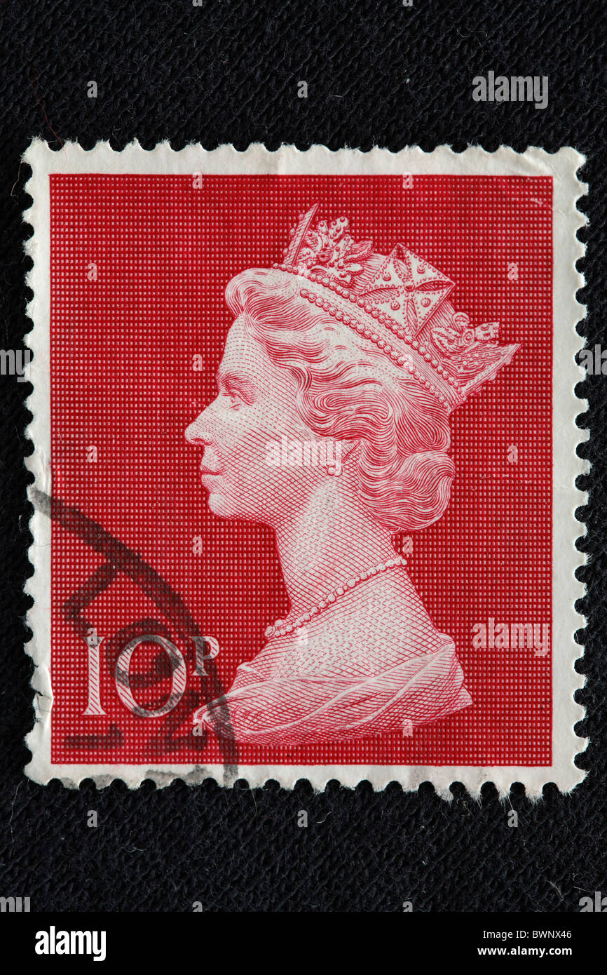 La reina Isabel II del Reino Unido sello grabado de Europa Inglaterra Gran Bretaña monarquía monarca reinado royal Foto de stock