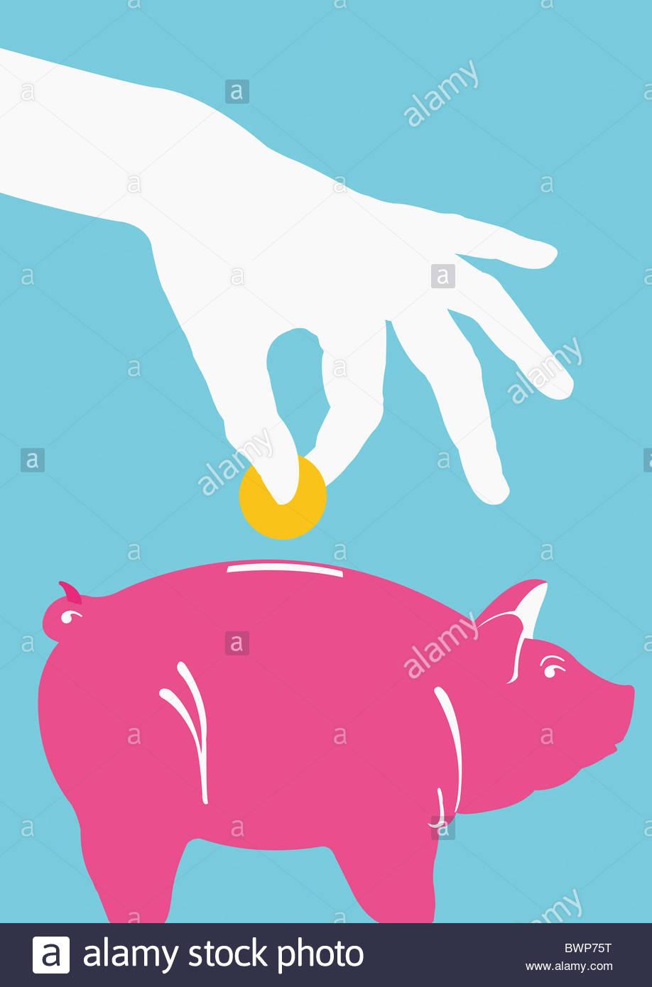 Persona poniendo la moneda en la alcancía Foto de stock