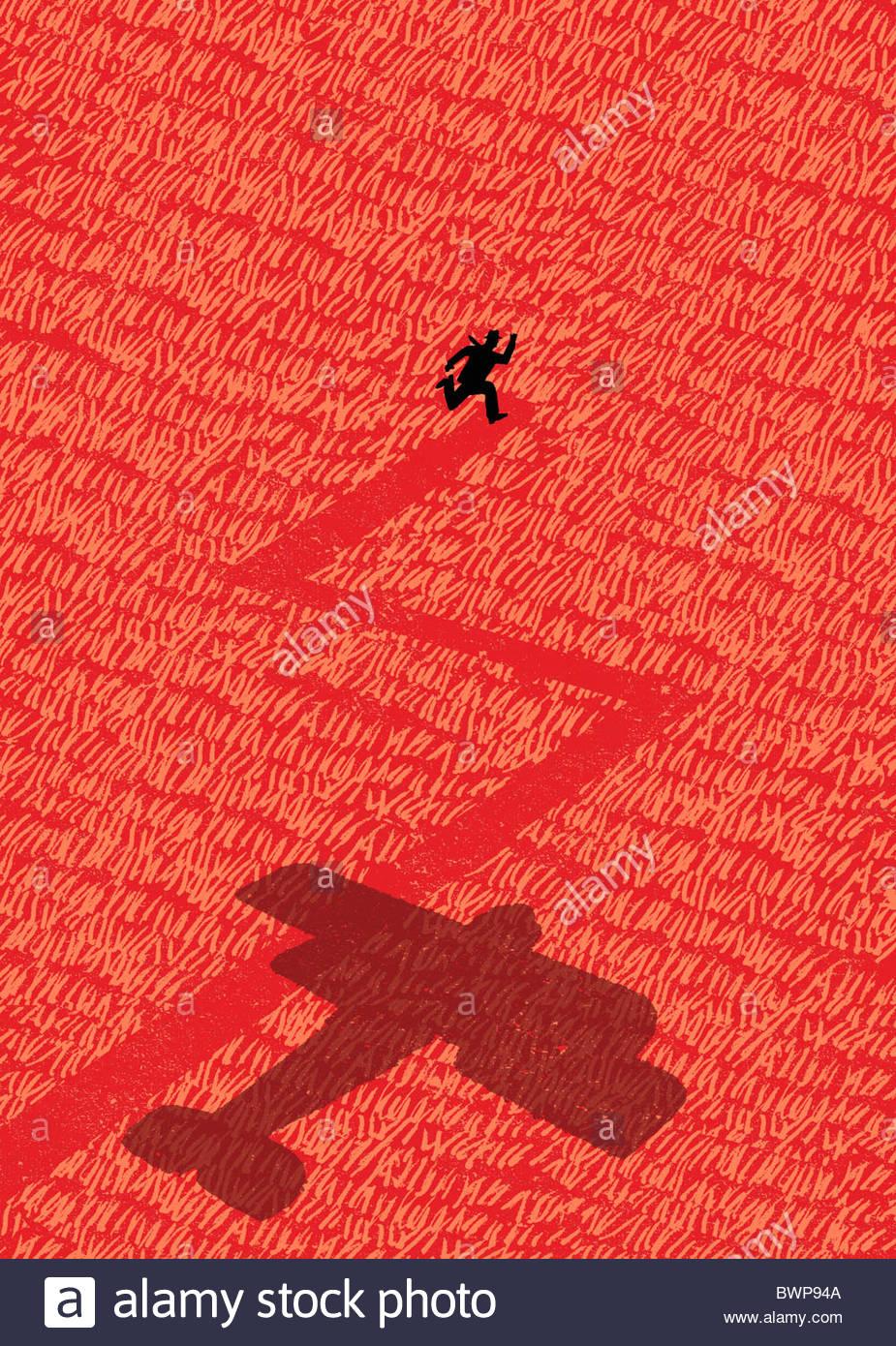 Anticuado avión persiguiendo al hombre a través del campo Imagen De Stock