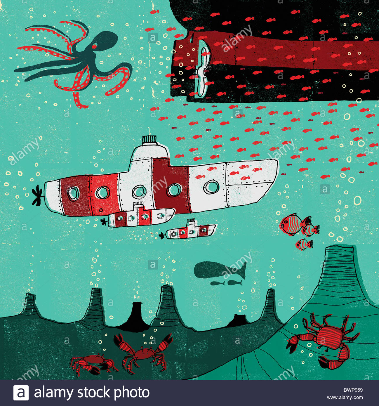 Submarinos submarino viajando en el océano Foto de stock