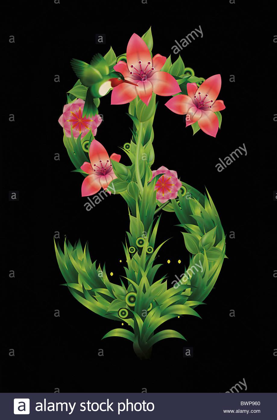 Blooming [signo de dólar] símbolo Imagen De Stock