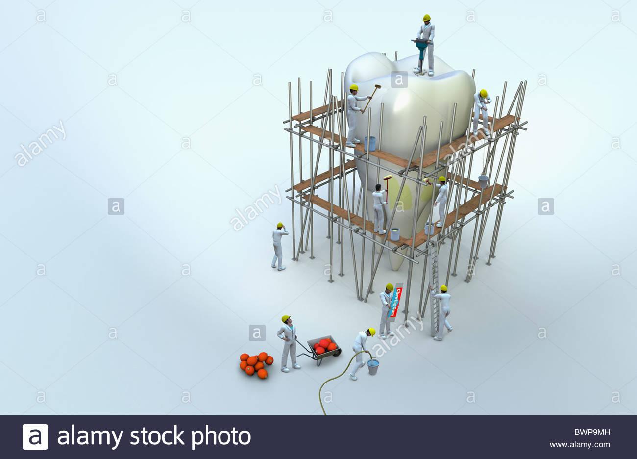 Los obreros en andamios reparación diente grande Imagen De Stock
