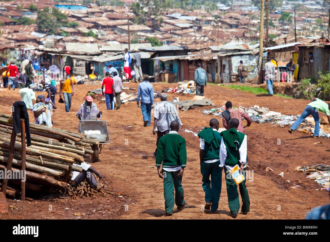 Tugurios Kibera en Nairobi, Kenia Imagen De Stock