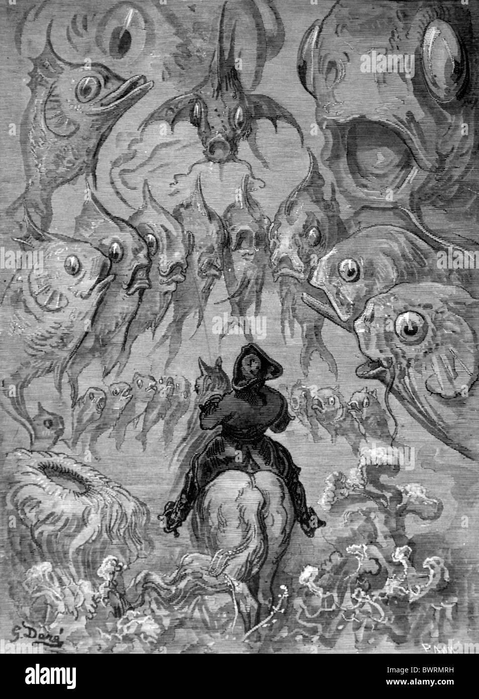 Gustave Doré; un mundo submarino (Historias del barón von Munchausen); grabado en blanco y negro Imagen De Stock