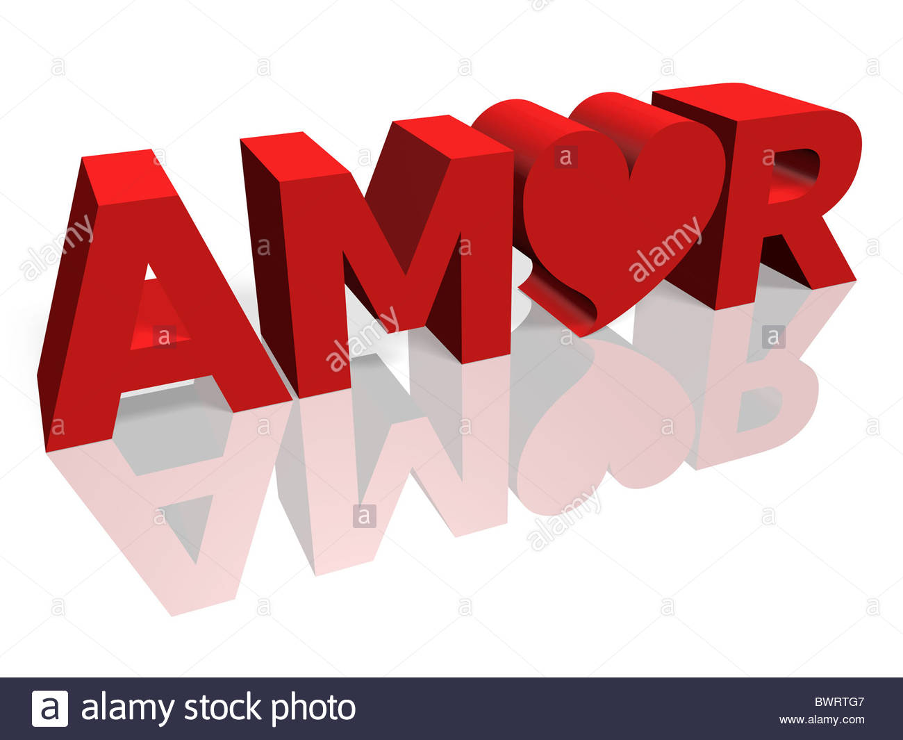 3D Render de la palabra Amor con letras rojas y una forma de corazón Imagen De Stock