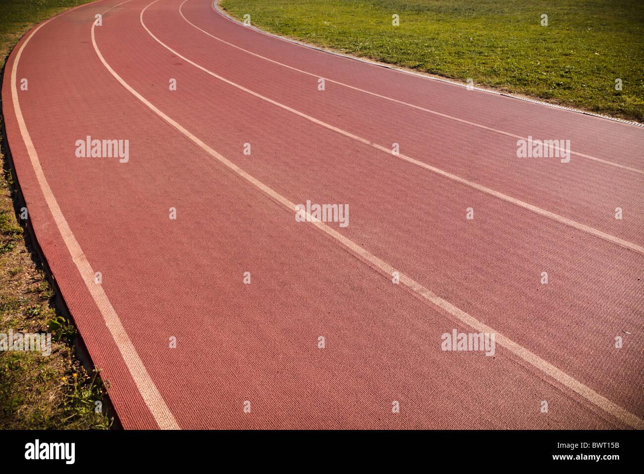 Pista de Atletismo de 4 carriles, en Salamanca, España. Imagen De Stock