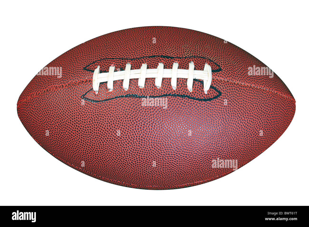 Un partido de fútbol americano aislado sobre fondo blanco con trazado de recorte realizado con la herramienta Imagen De Stock