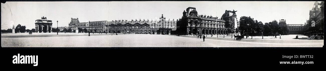 Louvre Paris Francia Europa histórica historia museo histórico panorama 1908 de la ciudad de Imagen De Stock