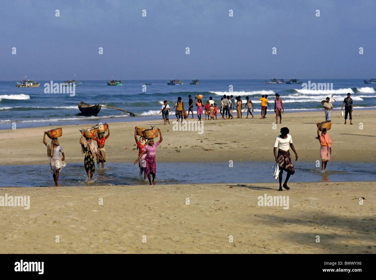 babfacc6eb00 Hombres y mujeres que llevan cestas de pescado de los barcos de pesca al  amanecer