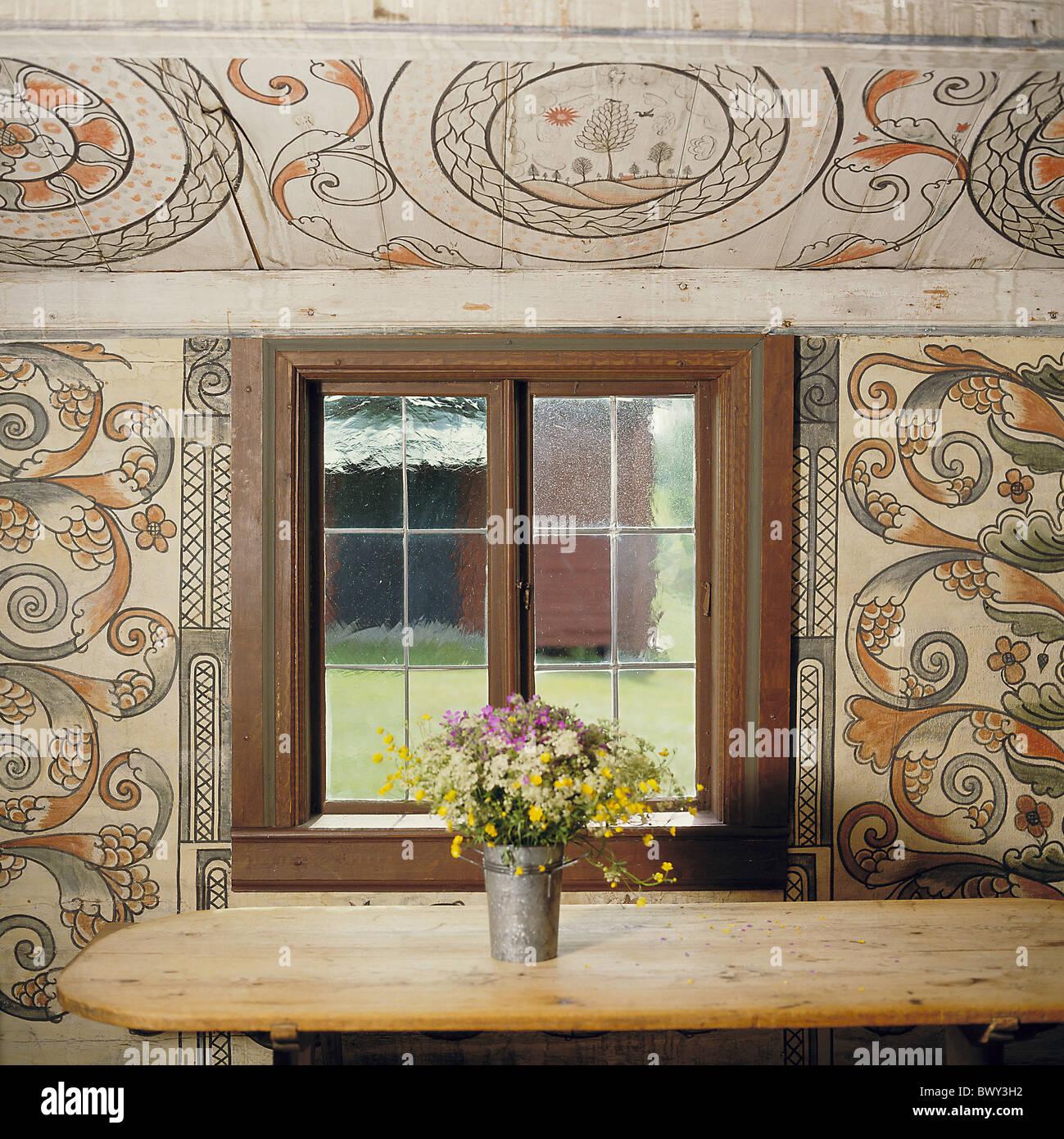 Suecia Europa Arte Artesania Pintura Mural Granja Escritorio Ventana