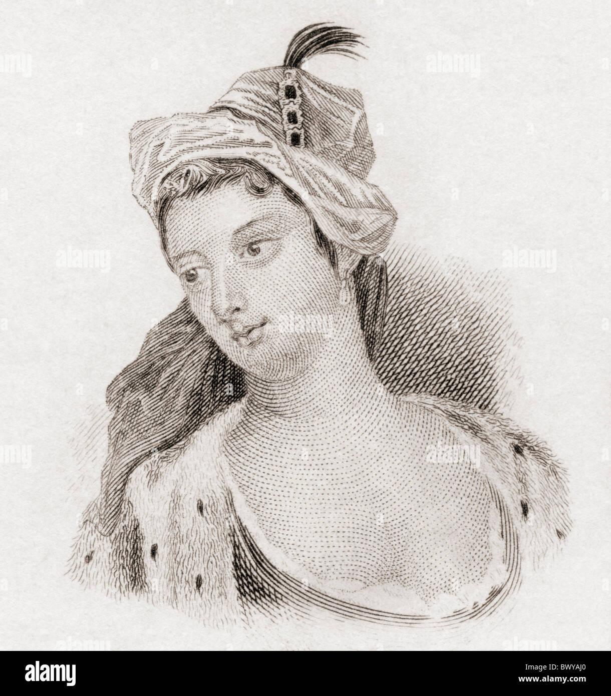 El Lady Mary Wortley Montagu, 1689 a 1762. Aristócrata inglés y escritor. Imagen De Stock