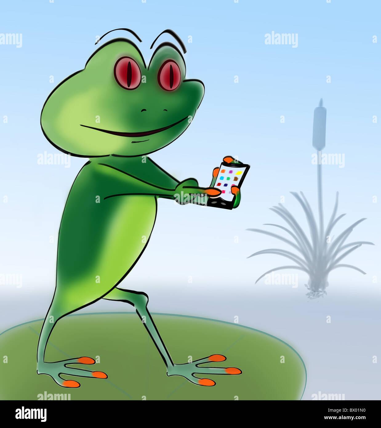 Imagen de dibujos animados de una rana usando un teléfono móvil inteligente. Imagen De Stock