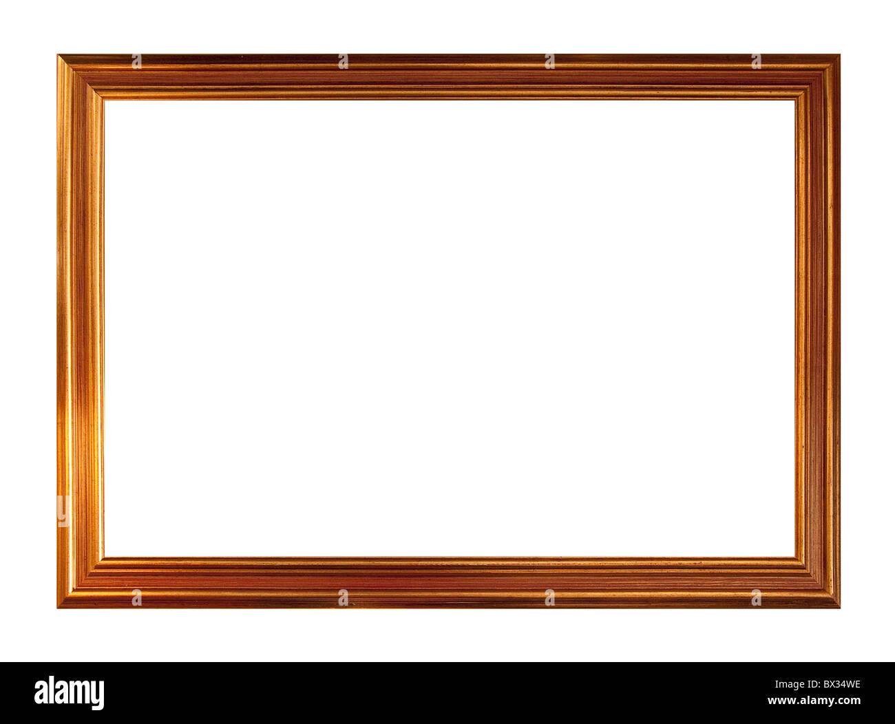 Marco de imagen de oro, aislado en blanco Foto de stock