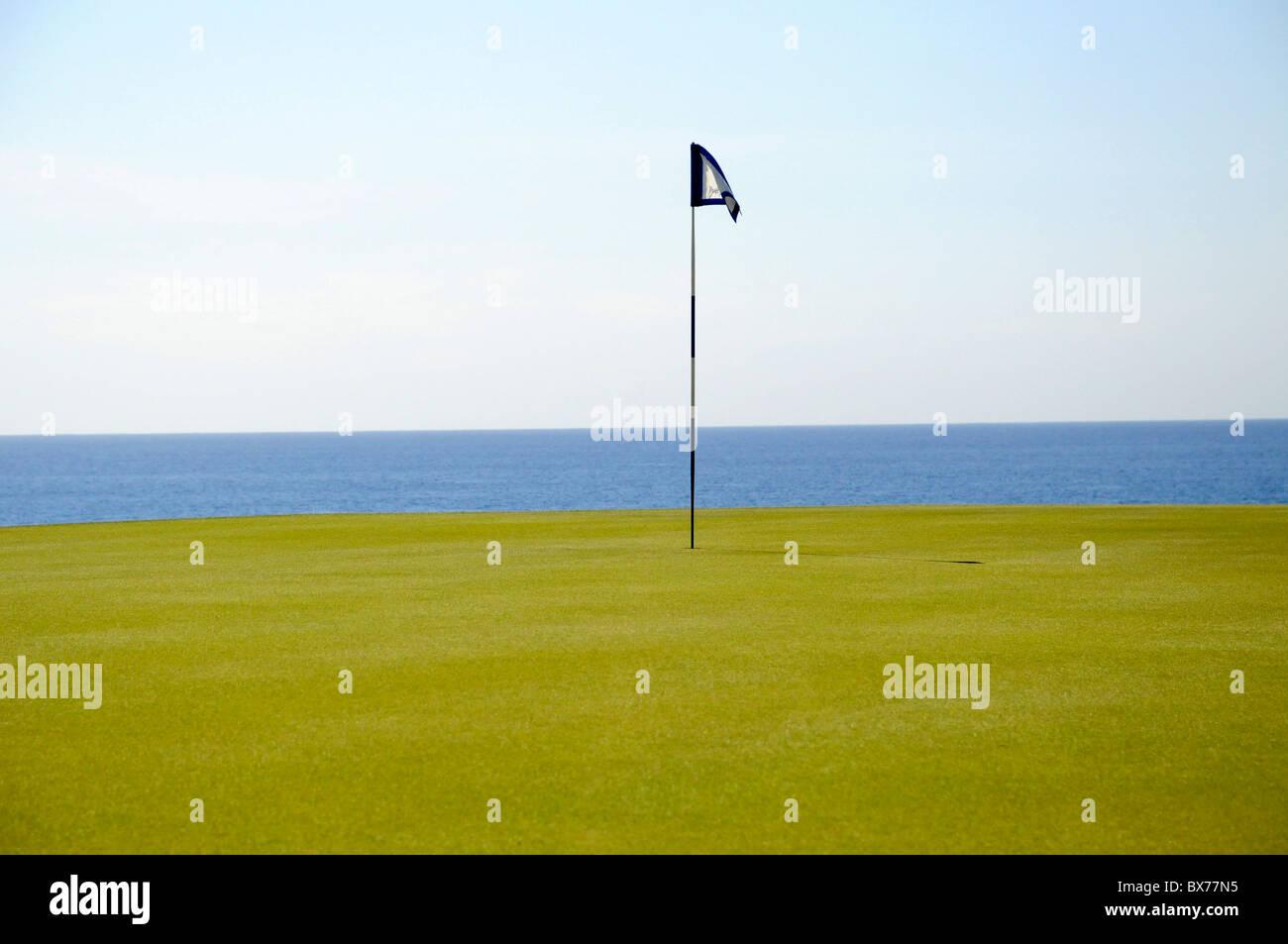 Putting green y mástil de bandera en el hoyo 14 en Puerto Los Cabos Golf Club en San José del Cabo, México Imagen De Stock