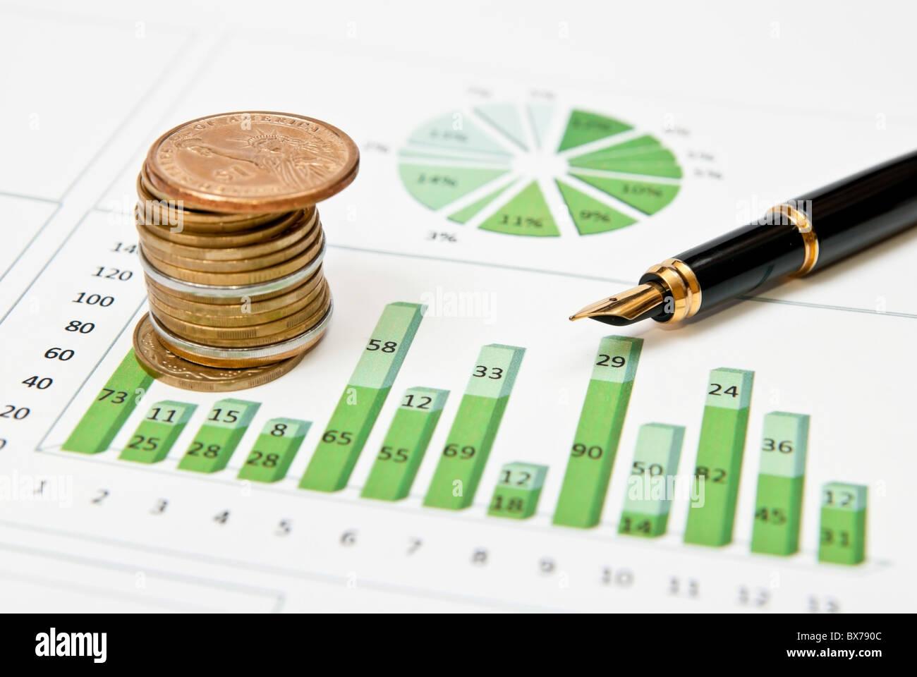 Las estadísticas de ganancias Foto de stock