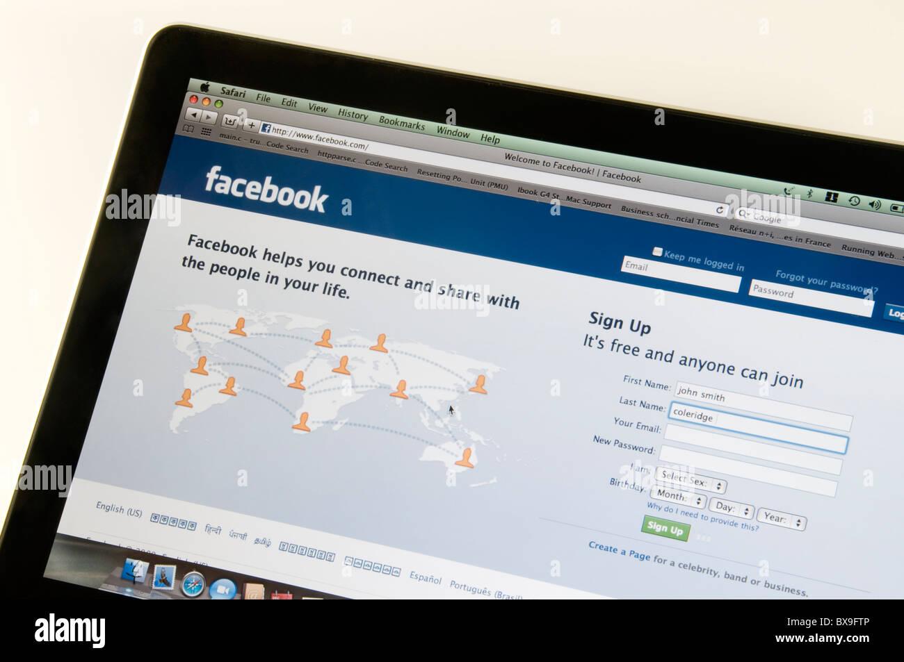 Captura de pantalla de la página de inicio de facebook Imagen De Stock
