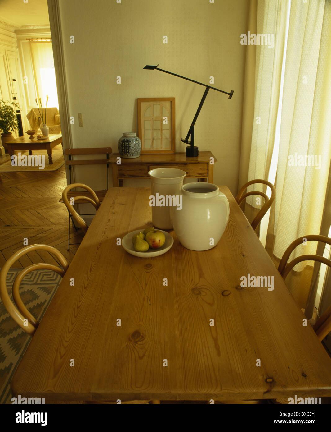 Vasijas de cerámica Crema de pino antiguo mesa de comedor francés ...