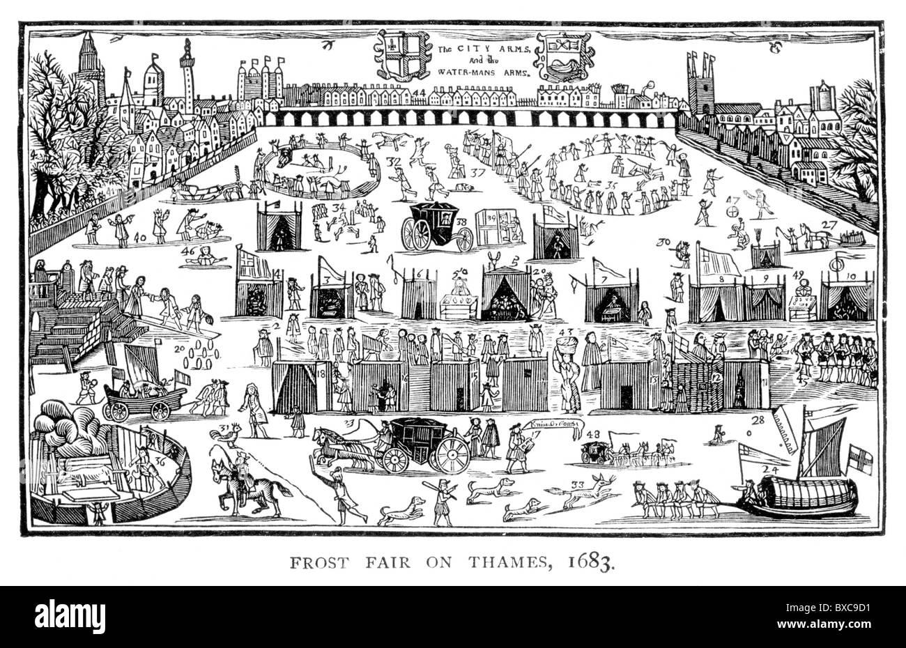 Frost justo sobre el río Támesis, Londres, 1683; Blanco y Negro Ilustración; Imagen De Stock