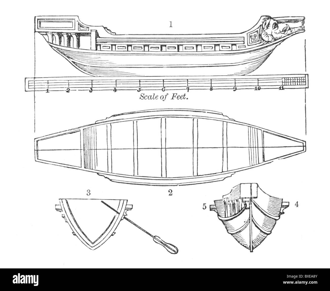 Dibujo de escala de una galera romana; ilustración en blanco y negro. Imagen De Stock