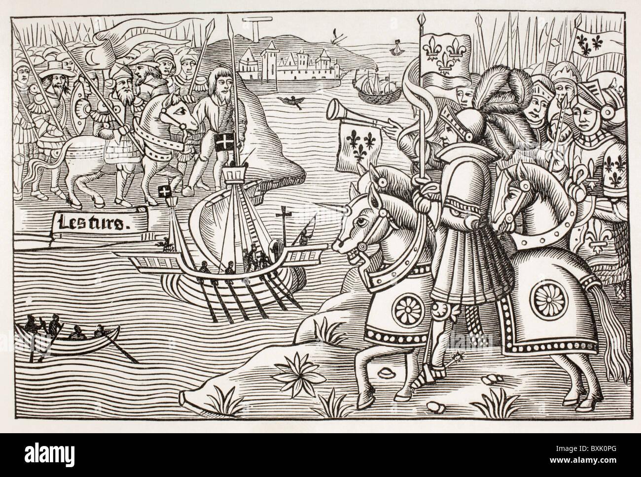 St Louis, el rey Luis IX de Francia, desembarca en Cartago en 1270, durante la octava cruzada. Foto de stock