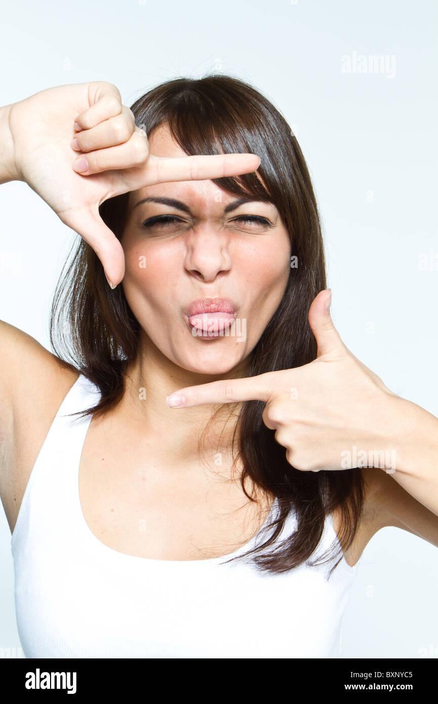 Mujer con signo de bastidor Imagen De Stock