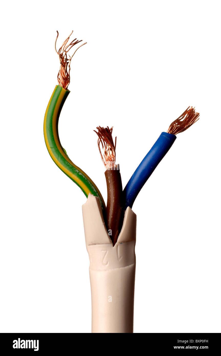 Tierra, vivo y neutro del cable eléctrico Imagen De Stock