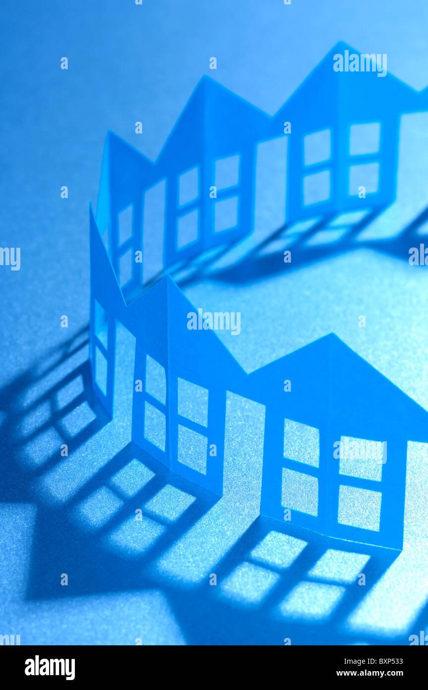 Casas de la cadena de papel Imagen De Stock
