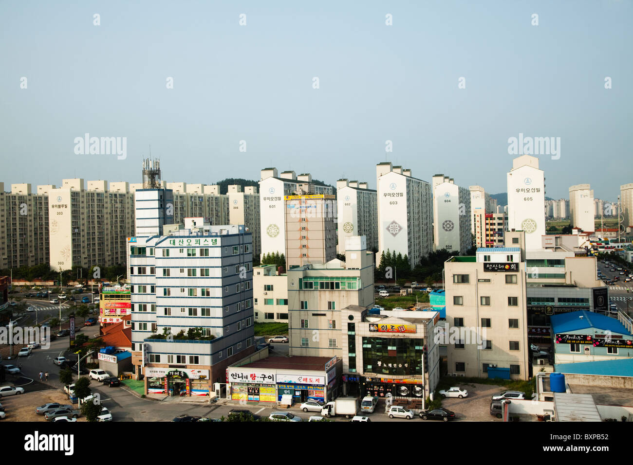 Arquitectura en torno al puerto de Mokpo, Corea del Sur Imagen De Stock