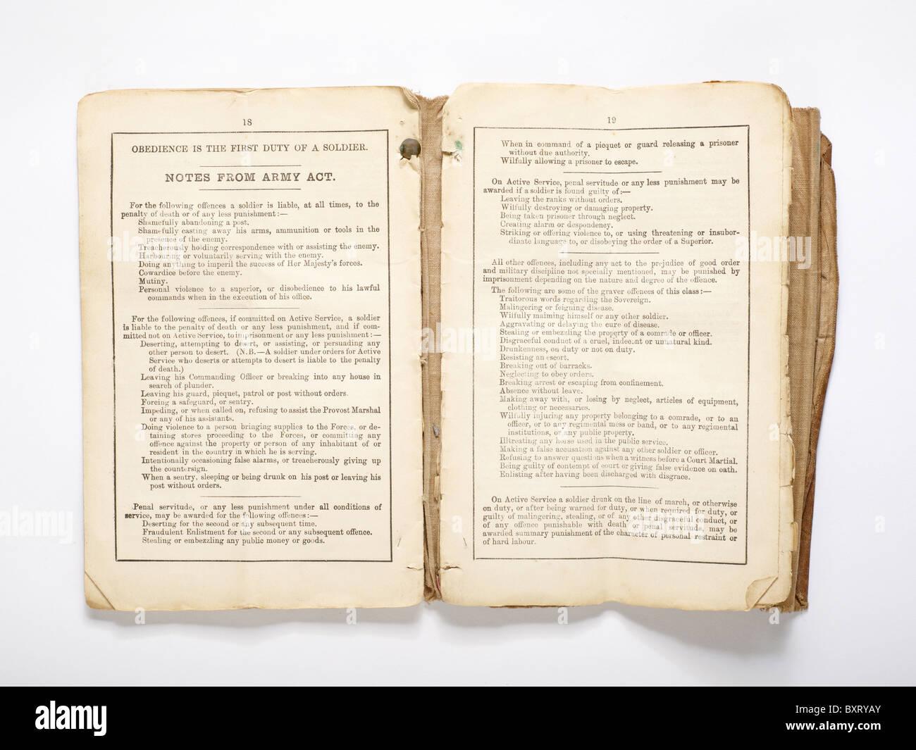 Libreta Militar de las guerras Boer Imagen De Stock