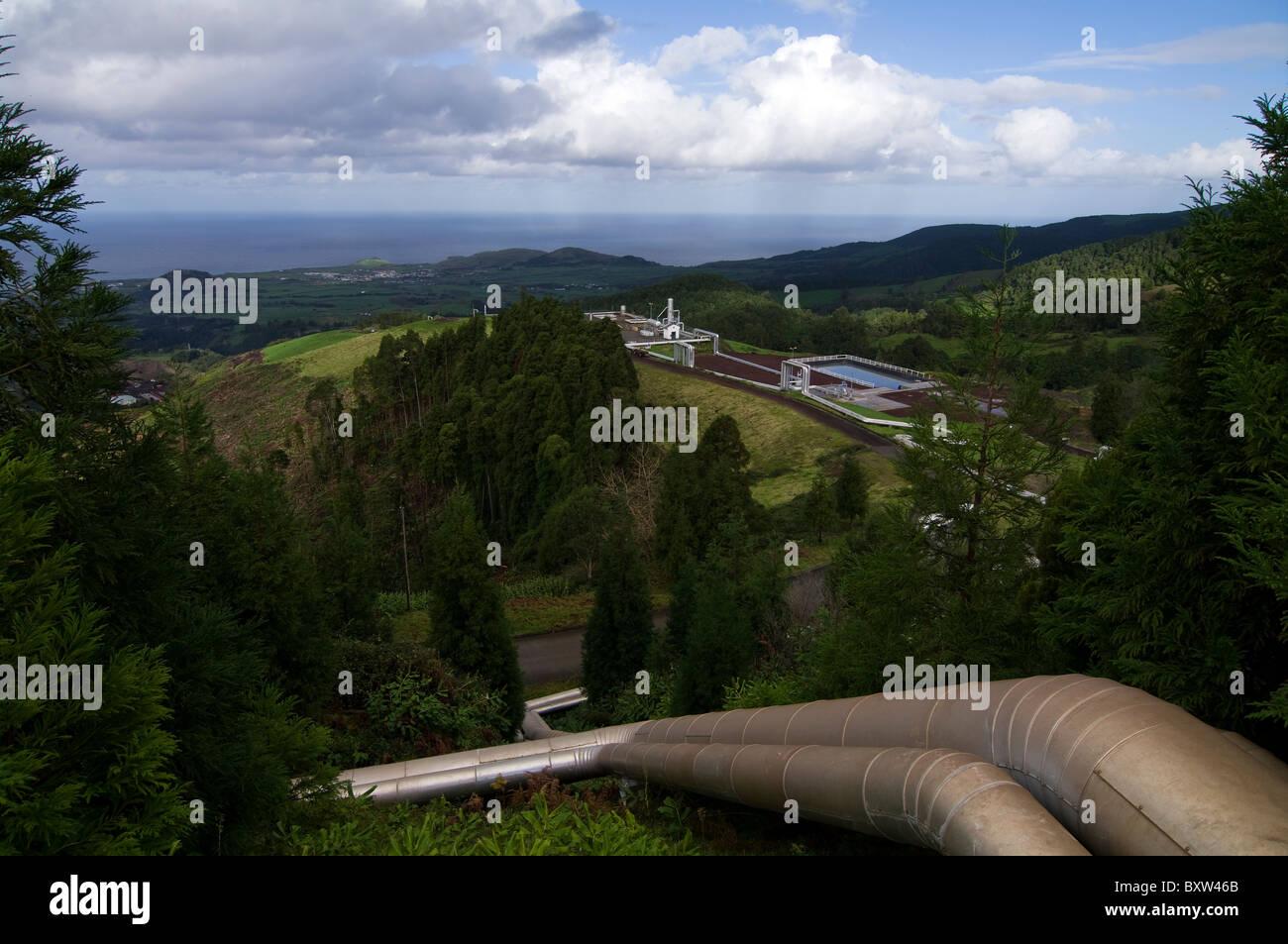 Instalación de la planta de energía geotérmica en las Azores utilizado para generar energía Imagen De Stock