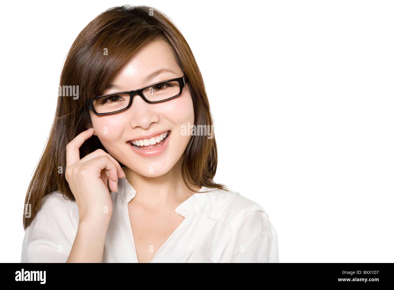 Retrato de mujer joven con una idea Imagen De Stock