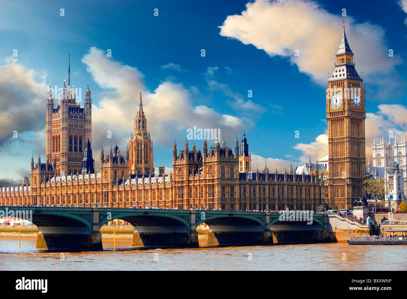 Las casas del parlamento, Westminster, London Foto de stock