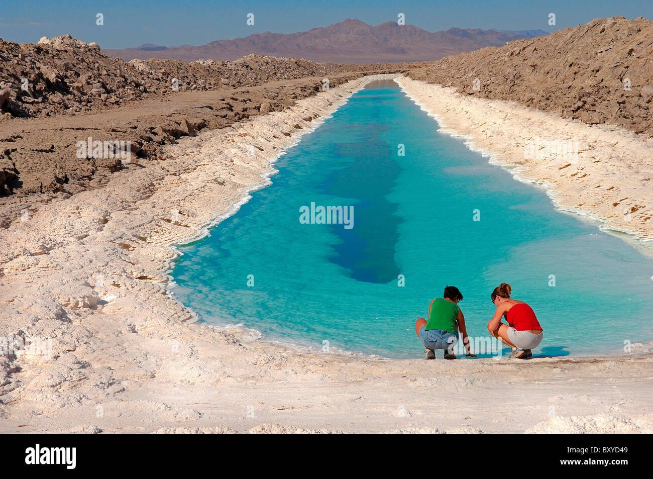 Campos de cloruro fuera de Amboy, el desierto de Mojave, California, EE.UU. Foto de stock