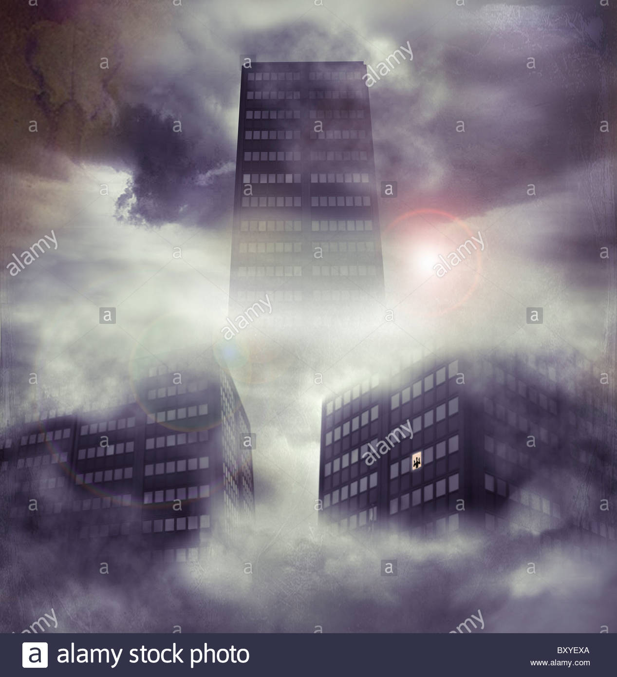 Torre de bloques en el cielo con la pequeña figura en la ventana Foto de stock