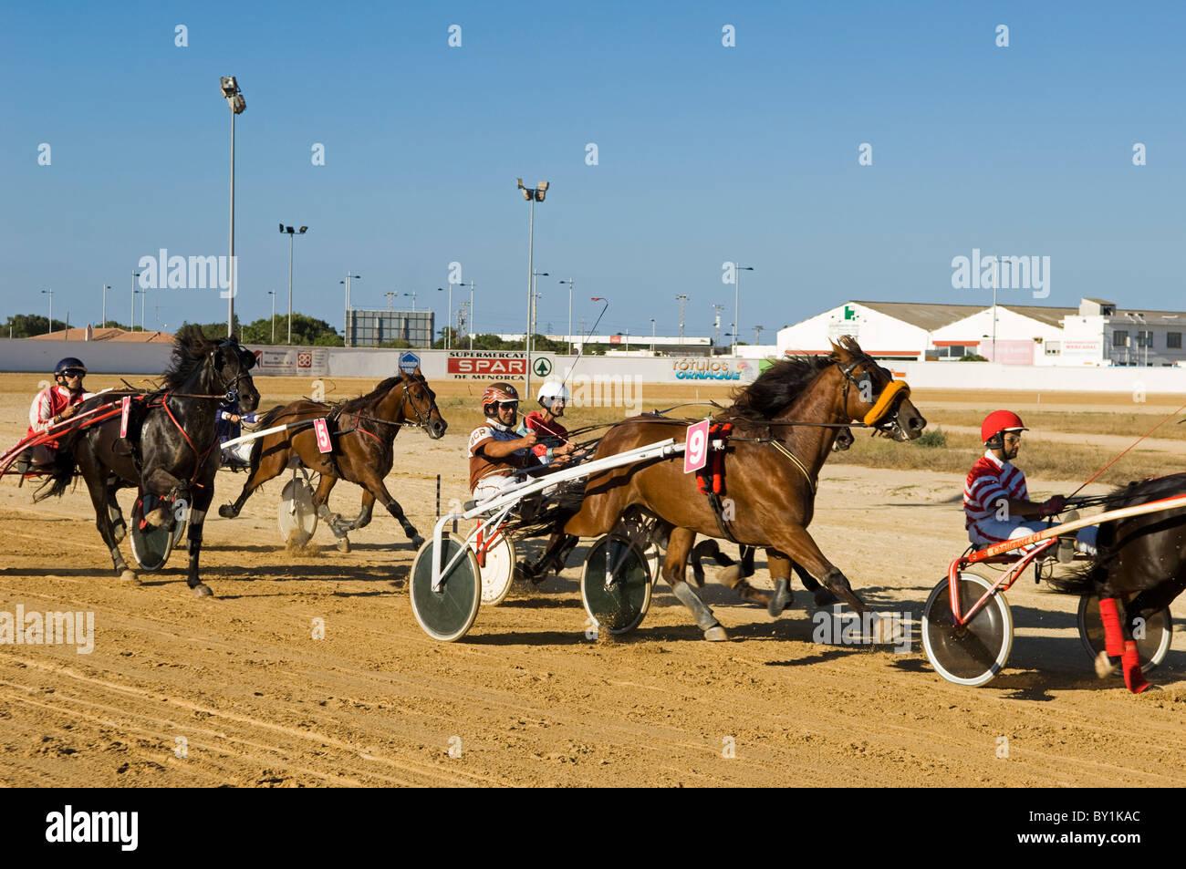 España, Menorca, Mahón. Carreras de caballos en el Hipódromo de carretera San Luis son un entretenimiento Imagen De Stock
