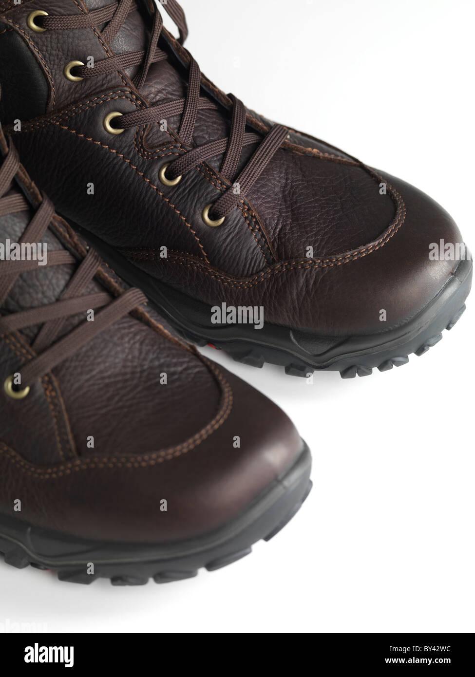Botas de cuero de invierno Mens closeup Imagen De Stock