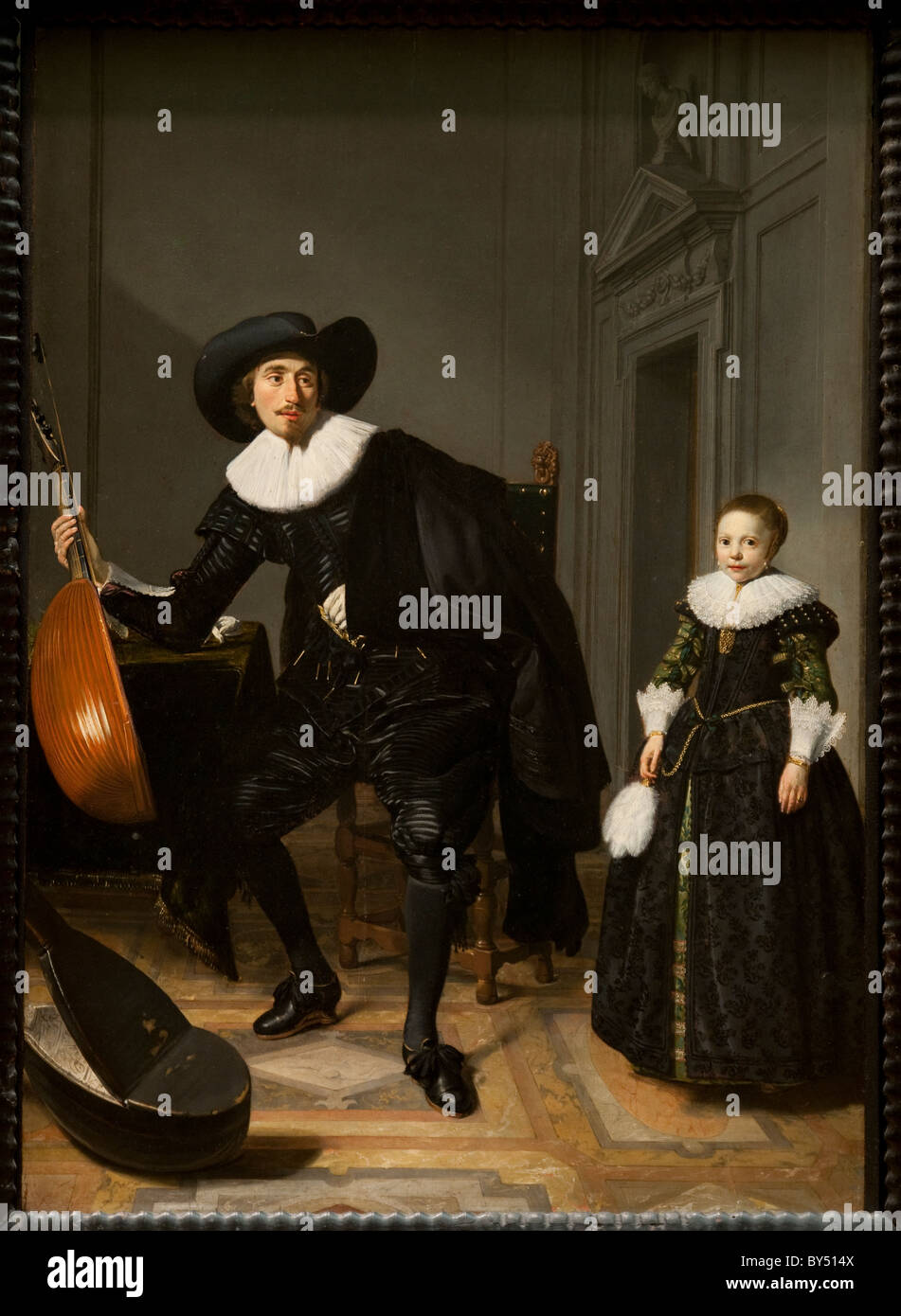 Un músico y su hija, 1629, por Thomas de Keyser Imagen De Stock