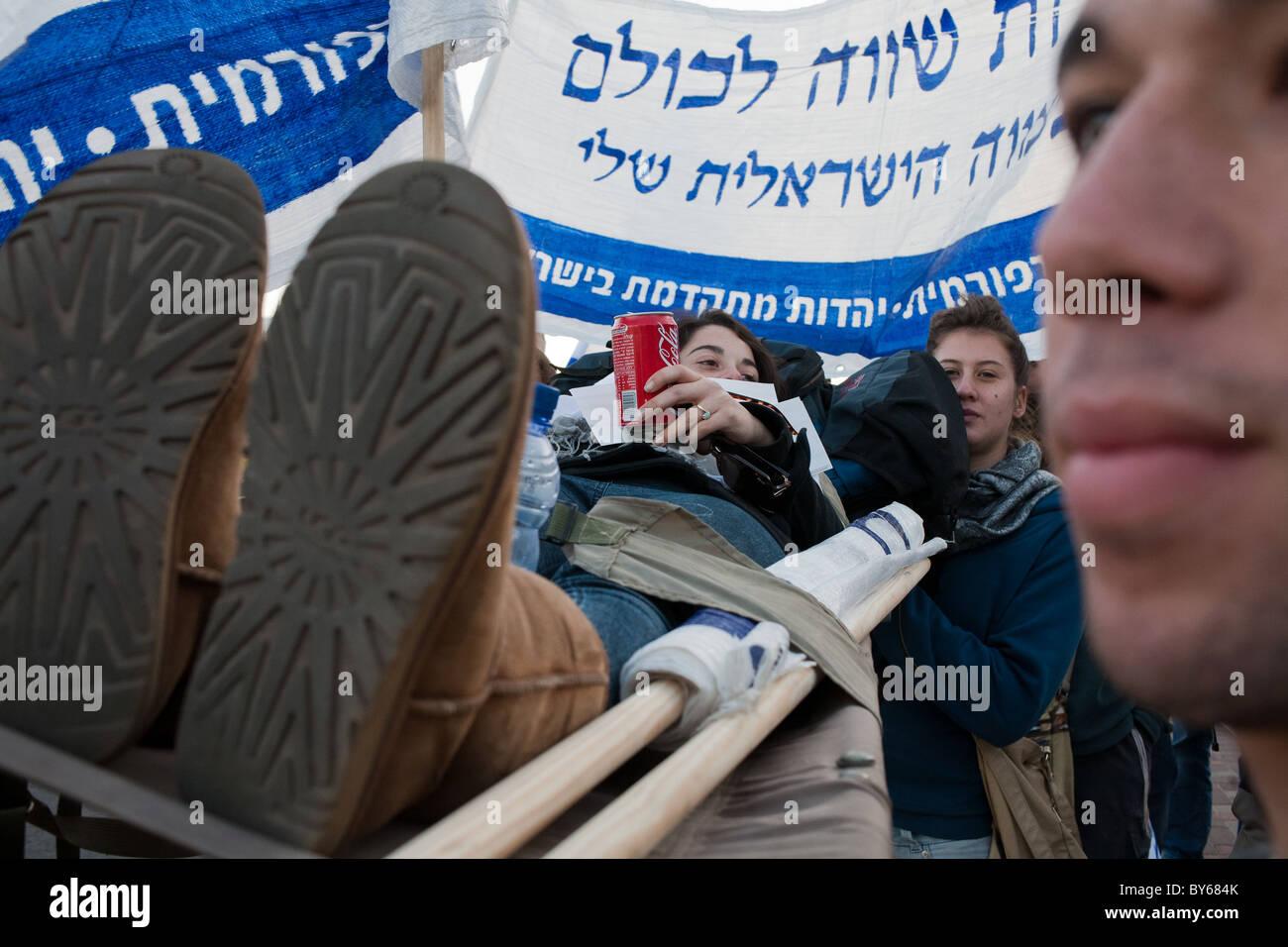 Tres días de marzo de estilo militar protestando contra la evasión ha llegado a su etapa final. Jerusalén, Imagen De Stock