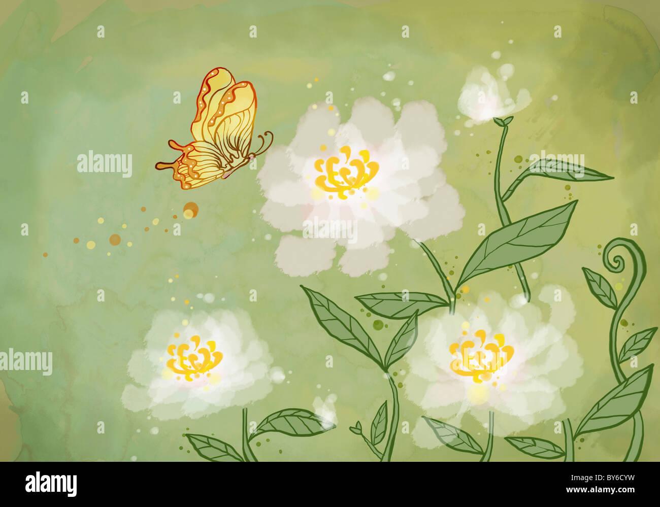 Saludo de Año Nuevo la ilustración en ambiente oriental Imagen De Stock
